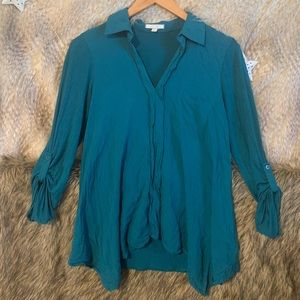 Nordstrom Pleione Long Sleeve Teal Shirt